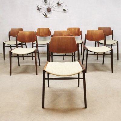 Set of 8 Vintage teakwood dining chairs by H. Lohmeyer for Wilkhahn