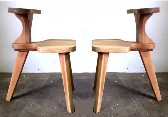 Set of two solid teak brutalist reading chairs, Netherlands 1960s