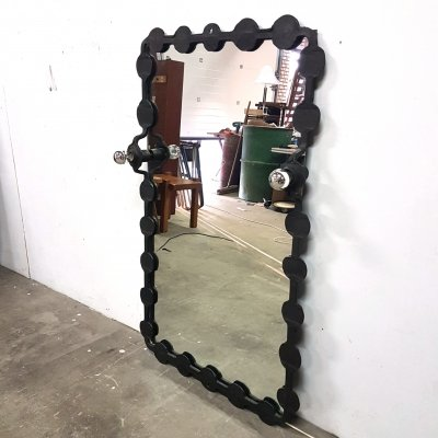 Brutalist wrought iron mirror with lights, 1970s
