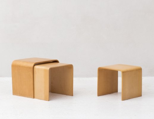 Set of birch plywood nesting tables, 1970