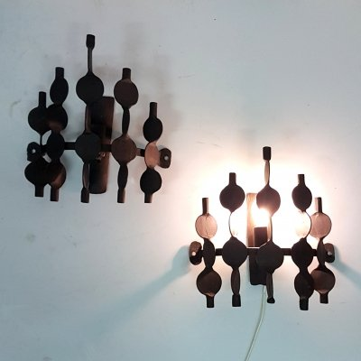 Set of 2 wrought iron brutalist wall lamps, 1970s