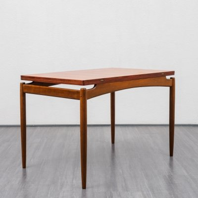 Mid century 1960s teak dining table with extendable fold-out table top