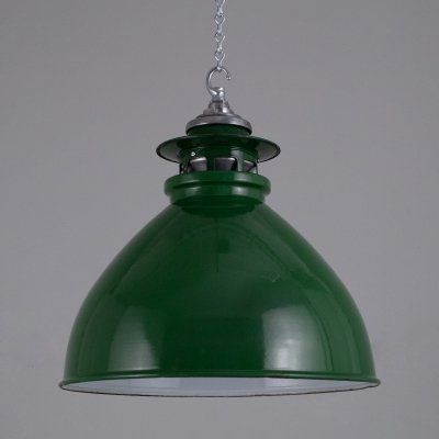 Original green enamel industrial pendant lights by Thorlux