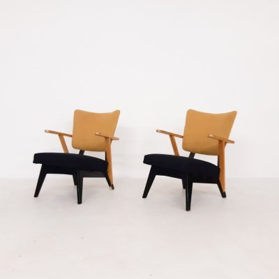 Set of two Dutch design lounge chairs, 1950's