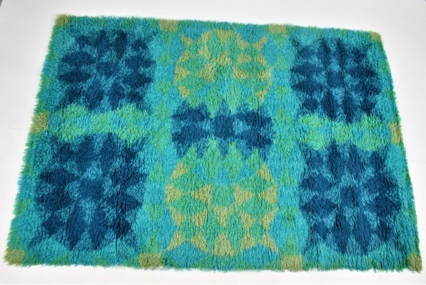 Retro Vintage wool hand-knotted carpet, Sweden 1960s / 70s