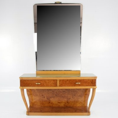 Italian Bird's-Eye Maple Dressing Table & Mirror, 1950s