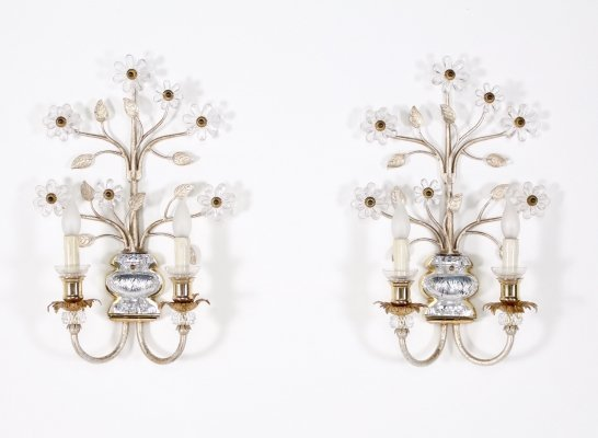 Pair of metal, cut crystal & brass floral lights by Banci Florence, 1970's
