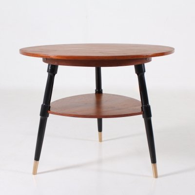 Teak, black lacquered beech & brass tripod Pedestal table, 1960's
