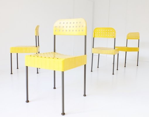 Set of 4 Box dining chairs by Enzo Mari for Anonima Castelli, 1970s