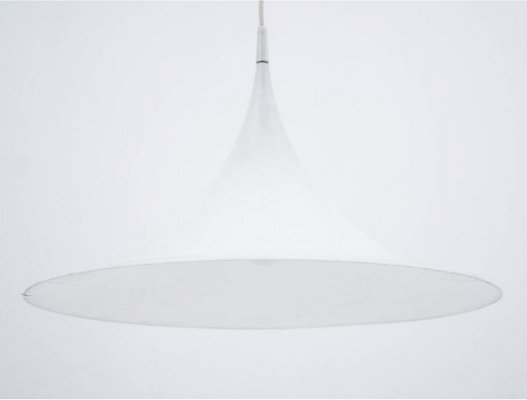 Danish Trumpet White Pendant Lamp, 1970s
