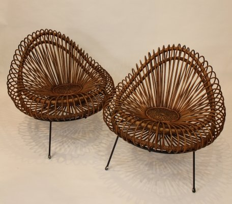 Pair of basketware lounge chairs by Janine Abraham & Dirk Jan Rol, 1950s