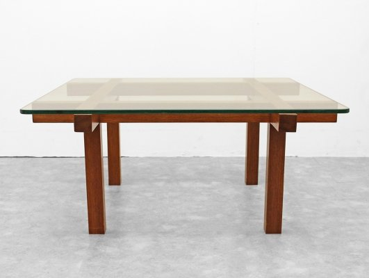 Design coffeetable by Alfred Hendrick in glass with teak frame