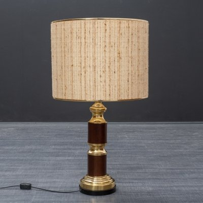 Large 1970s table lamp in wood & brass