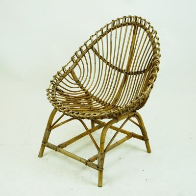 Italian Rattan Lounge Chair, 1950s