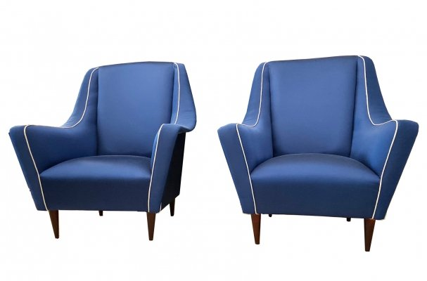 Pair of Blue Ico Parisi Armchairs, 1950's