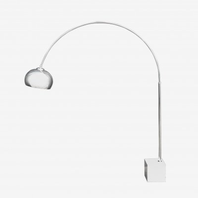 Chrome Arc Lamp with Marble Base by Guzzini, 1970s