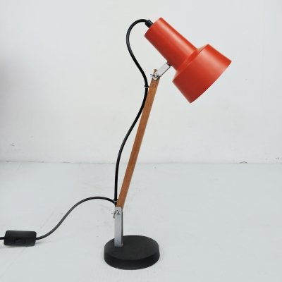 Red Desk Lamp with Wooden Arm, 1970s
