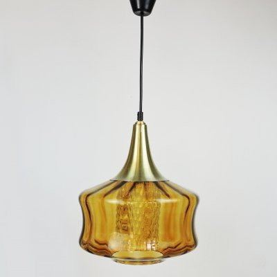 Orange Glass & Brass Pendant Lamp, 1970s