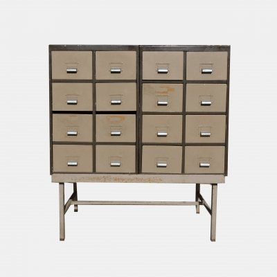 12 Drawer Vintage Industrial Metal Raised Unit by H.S.L.D, 1940s