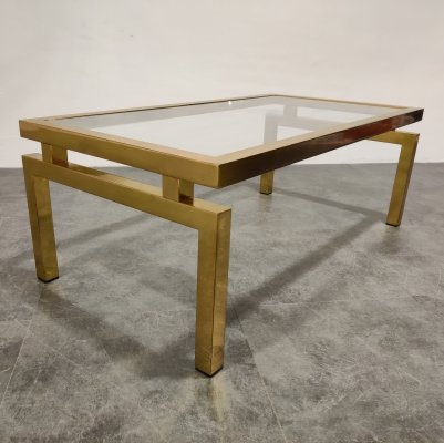Vintage brass coffee table by Belgo Chrom, 1970s