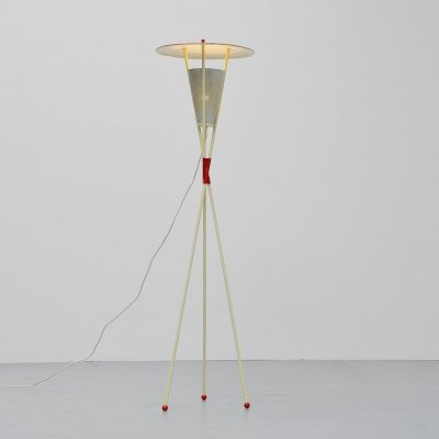 Dutch modernist floor lamp with fifties colors, Holland 1950