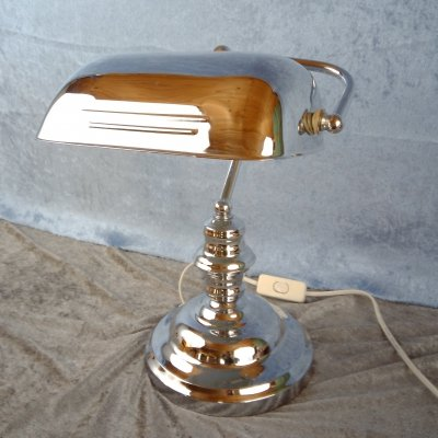 Chrome Bankers Table Lamp from IKEA, 1980s