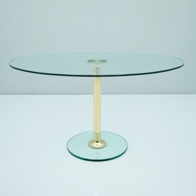 Oval Glass & Brass Dining Table by Drenert, 1980s