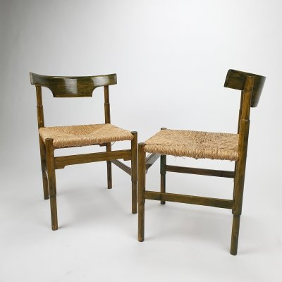 Set of 2 Green oak & straw side chairs, 1960s