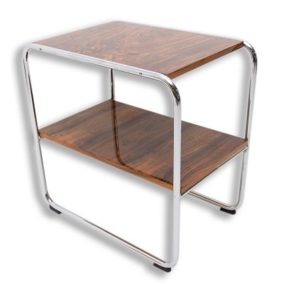 Chrome Bauhaus side table in walnut, 1930s
