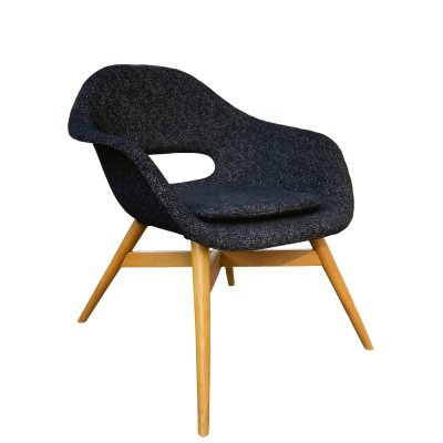 Black fiberglass armchair by Miroslav Navratil for Vertex, Czechoslovakia 1960s
