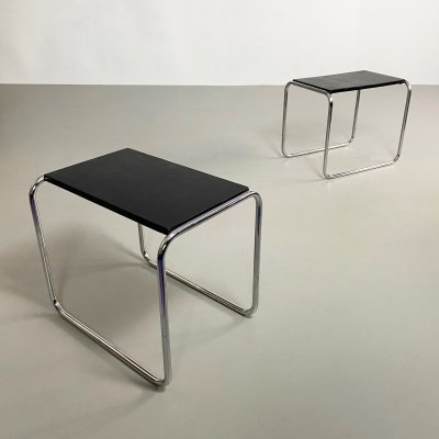 Pair of Bauhaus Style Leatherette & Tubular Chrome Side Tables, c.1970