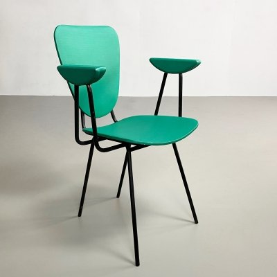 Mid Century Green Vinyl & Steel Dining Chair, France c.1950