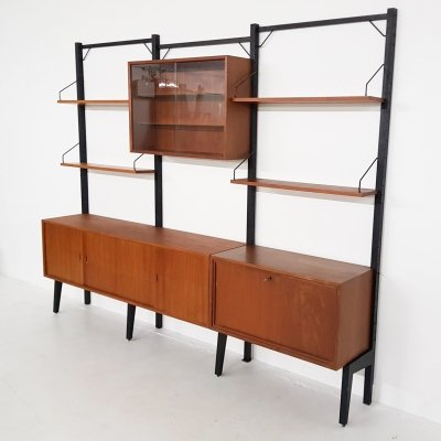 Large Poul Cadovius for Royal System free standing teak wall unit, Denmark 1950