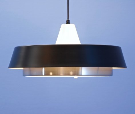 Dutch hanging lamp in black by Hiemstra Evolux, 1950s