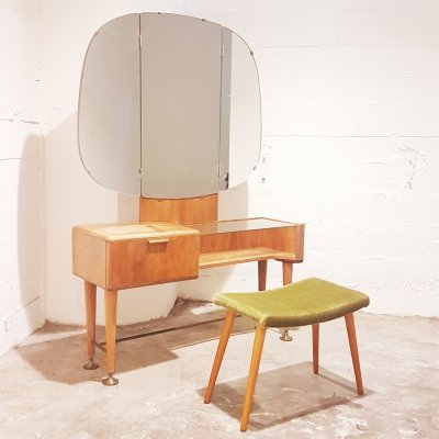 Rare walnut Mid-Century Modern vanity / dressing table & stool by A.A. Patijn for Zijlstra Joure, 1950s
