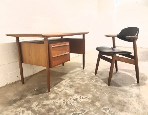 Vintage teak desk with cowhorn chair by Tijsseling for Propos Hulmefa, 1960s