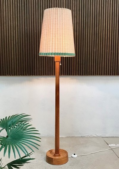 Danish Teak Floor Lamp with Folded Fabric Shade, 1960s