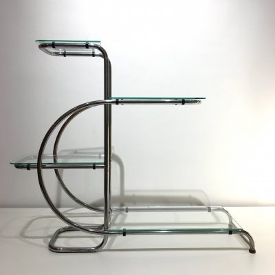 Art Deco Steel & Glass Étagère, 1930s