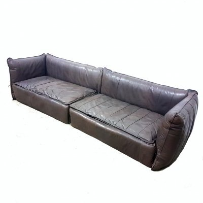 Large leather 2 piece sofa, 1970s