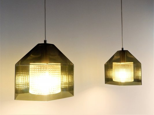 Set of 2 hexagon pendant lamps by Carl Fagerlund for Orrefors, Sweden 1960's