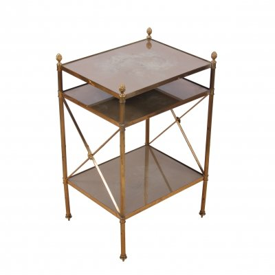 Brass & Eglomese Glass Three Tier Side Table, 1950s