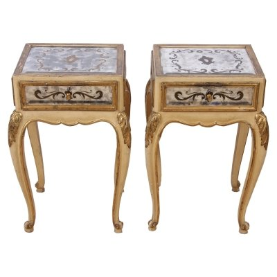 Pair of Eglomese Mirrored Bedside Tables, 1940s