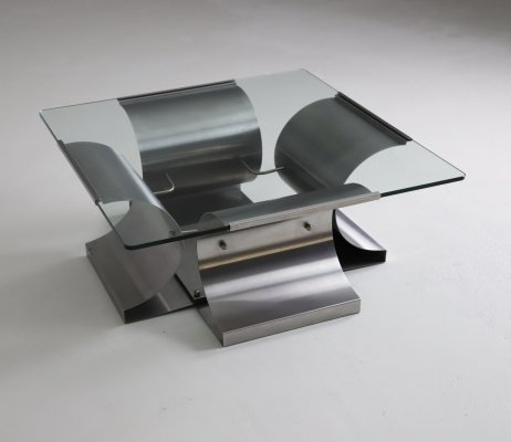 Coffee table in brushed steel & glass by François Monnet for Kappa, 1970s