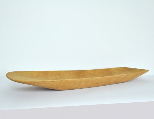 Danish handcrafted birch dish, labeled