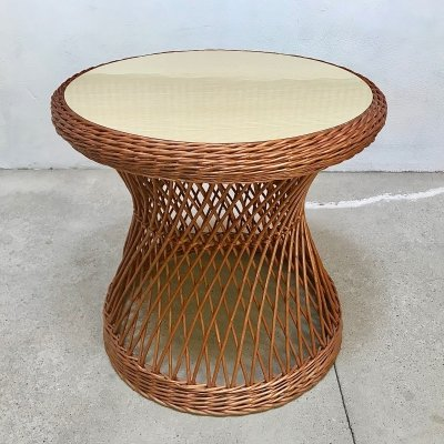 Large Round Wicker Side Table with Wood Grain Resopal Top, Italy 1950s