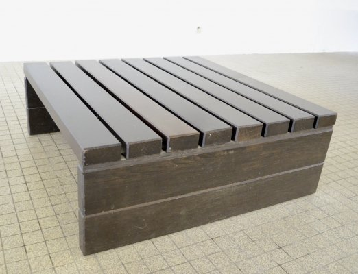 Vintage minimalistic wengé coffee table, 1980s