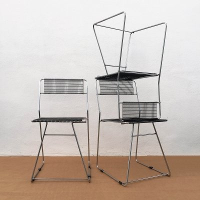 Set of 3 Wired Chairs, 1970s