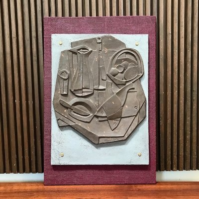 Modernist Abstracted Culinary Still Life Art Wall Relief, Germany 1950s
