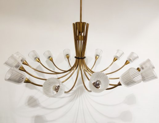 Large vintage brass spider chandelier, 1960s