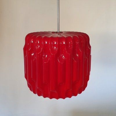 Very rare large red opaline glass mid-century brutalist pendant light, 1960s